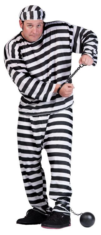 CONVICT MAN ADULT COSTUME, PLUS SIZE