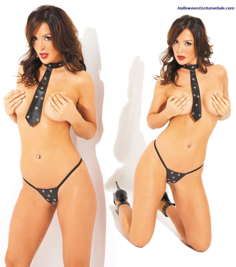 LEATHER TIE WITH G-STRING