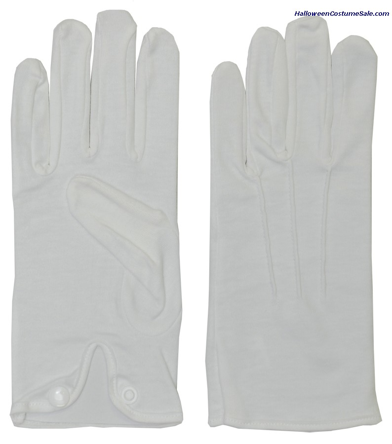ADULT COTTON GLOVES WITH SNAP WHITE