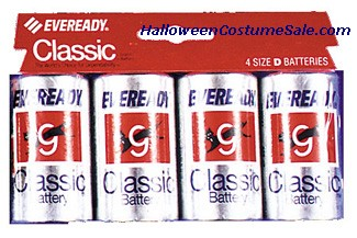 BATTERIES EVEREADY, D, CARD OF 4