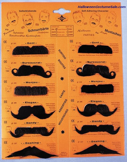 MUSTACHE - CARD OF 12,