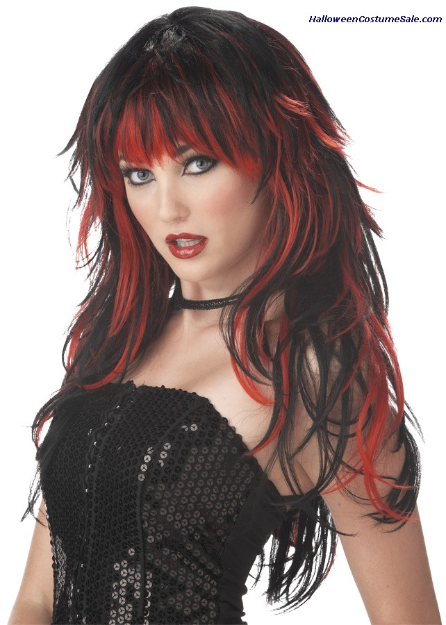 TEMPTING TRESSES RED BLACK ADULT WIG