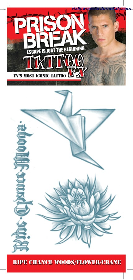 PRISON BREAK WOODS FLWER CRANE TATTOO