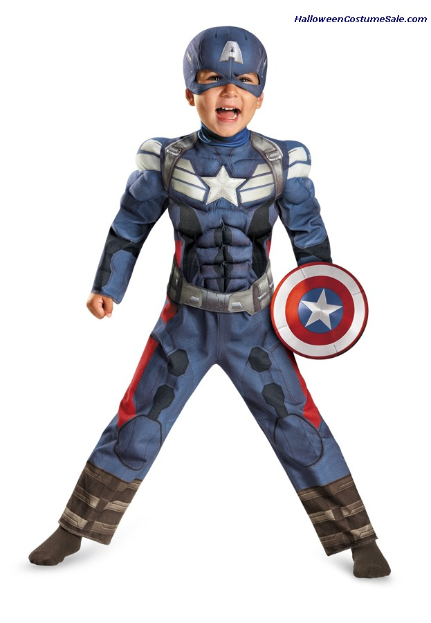 CAPTAIN AMERICA 2 MUSCLE TODDLER COSTUME