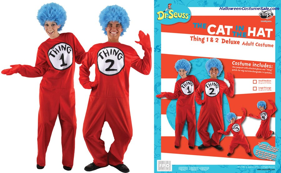 CAT IN HAT THING 1 & 2 ADULT COSTUME