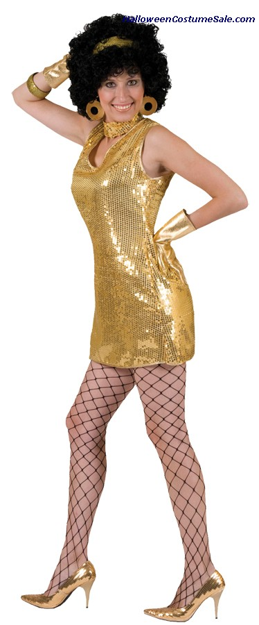 DISCO GOLD DRESS WITH CHOKER ADULT COSTUME
