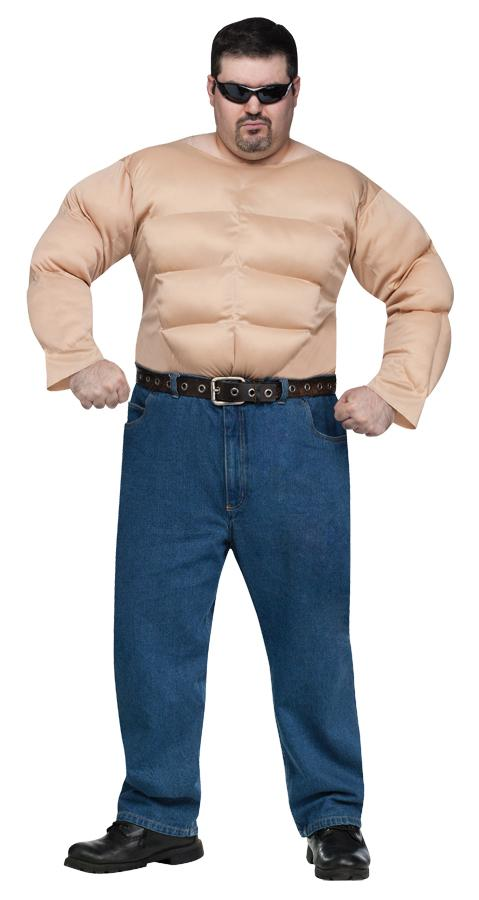 MUSCLE MAN SHIRT PLUS SIZE ADULT COSTUME
