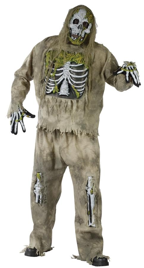 SKELETON ZOMBIE PLUS SIZE ADULT COSTUME