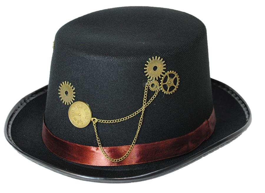 STEAMPUNK HAT BLACK BROWN BAND