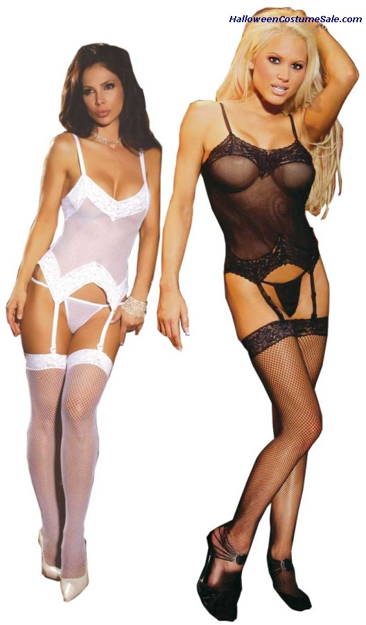 Fishnet Bustier Set - Plus Size