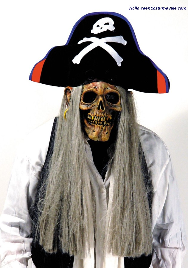 PIRATE SKULL MASK W/HAT & HAIR