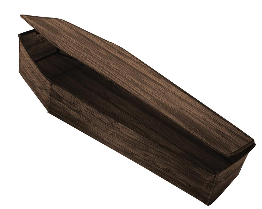 COFFIN WITH LID WOODEN BROWN