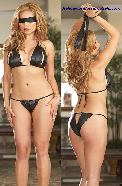 BRA & PANTY WITH BLINDFOLD ADULT COSTUME - VERY HOT!