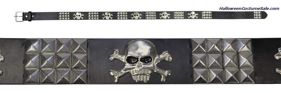 BELT SILVER STUD WITH SKULL ACCENTS