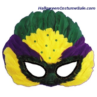 MASK, MARDI GRAS SEQUIN FEATHER