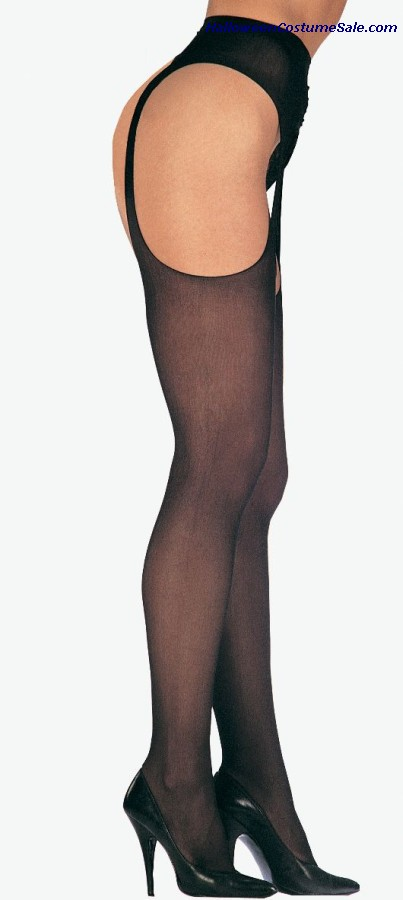 SHEER SUSPENDER PANTYHOSE BLACK