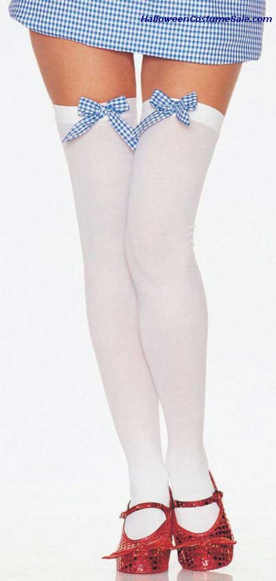 Thigh Hi Wht/Wht&Blue Bow Adult