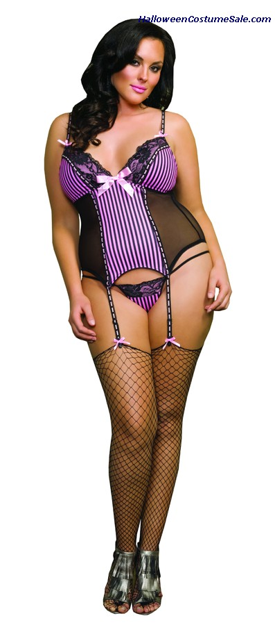 STRIPED CAMI GARTER  - QUEEN SIZE
