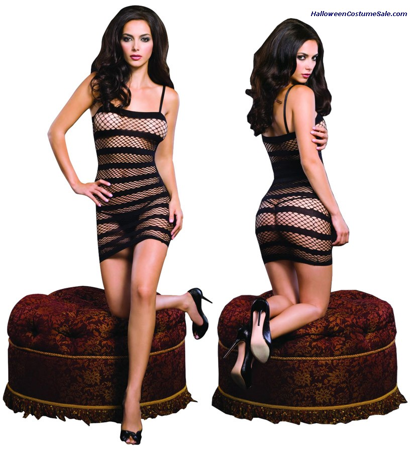 FISHNET MINI DRESS WITH STRIPES