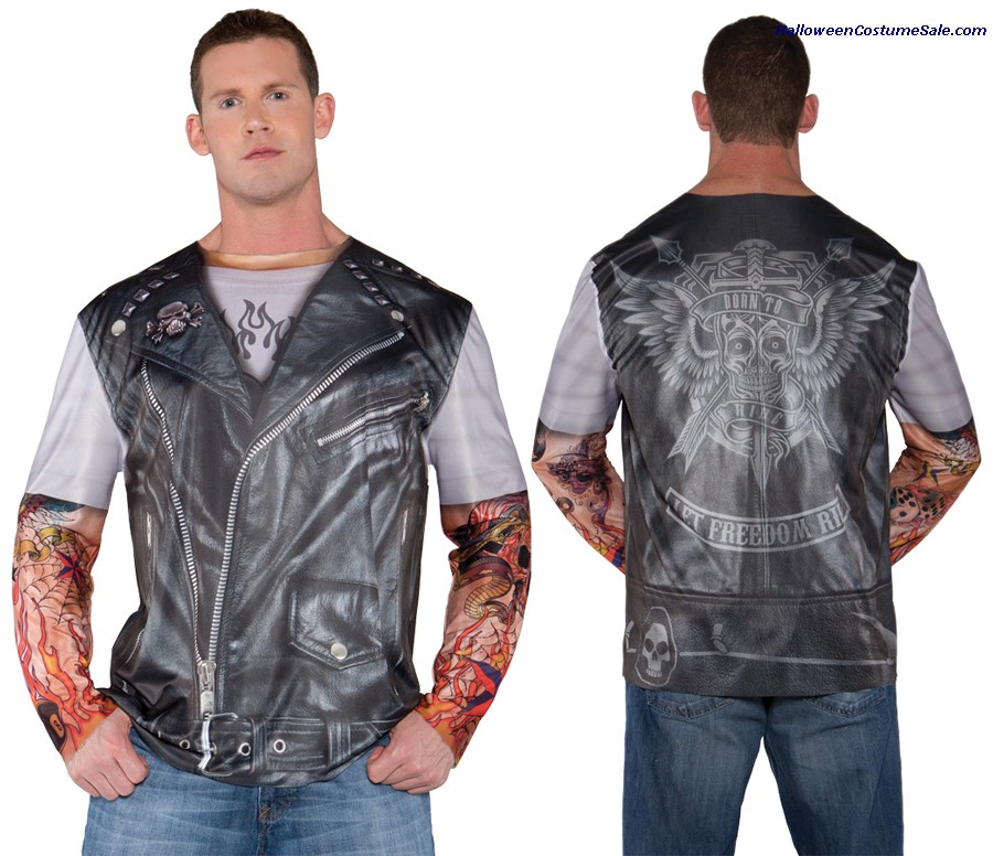 PHOTO REAL SHIRT BIKER JACKET ADULT COSTUME