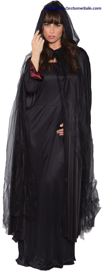 GHOST CAPE FULL BLACK ADULT COSTUME