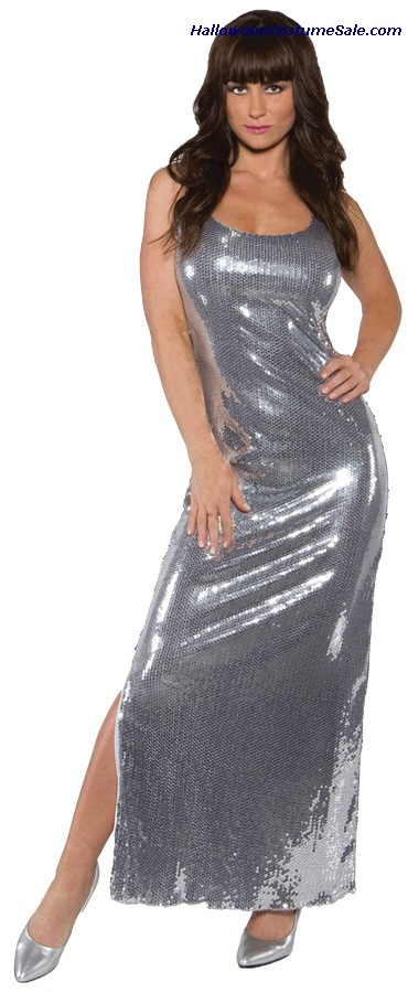 SEQUIN DRESS LONG SILVER ADULT COSTUME