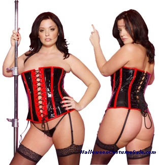 VINYL CORSET WITH G STRING PLUS SIZE