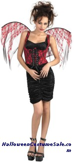 CORSET WINGS - BLACK WITH RED LACE