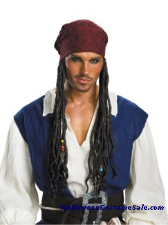 DISNEY JACK SPARROW HEADBAND W/ HAIR - ADULT SIZE