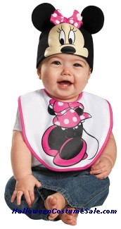 PINK MINNIE MOUSE BIB WITH HAT