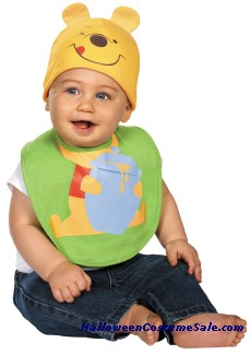 INFANT POOH BIB WITH HAT