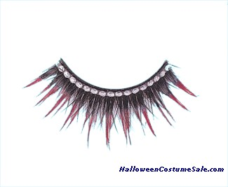 EYELASHES BLACK W/RED RHINEST