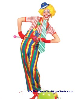 STRIPED CLOWN OVERALLS ADULT COSTUME