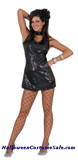 DISCO BLACK DRESS WITH CHOKER ADULT  COSTUME