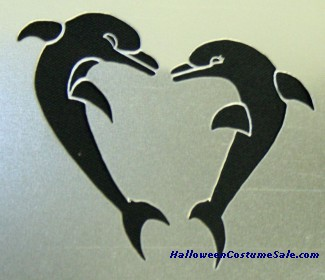 STENCIL HEART SHAPED DOLPHINS