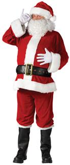 SANTA SUIT COMPLETE VELOUR ADULT COSTUME