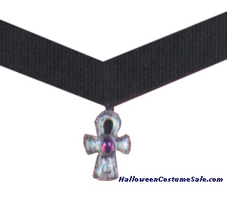 CHOKER VELVET CROSS W/PURPLE
