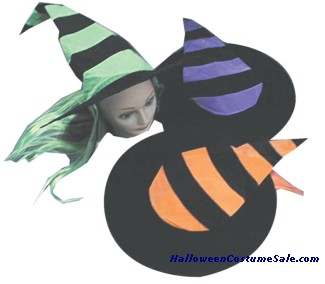 STRIPED WITCH HAT W/HAIR - CHILD SIZE