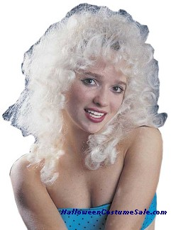 WIG, CURLY PARTY BLONDE NEW