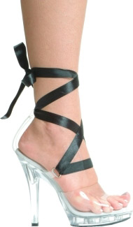 CLEAR SHOE W/ COLORED RIBBON