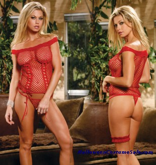 NET CAMI TOP W/THONG ADULT COSTUME - Queen Size