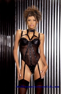 LEATHER & FISHNET TEDDY ADULT COSTUME