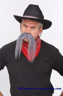 The Western Mustache- Grey