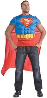SUPERMAN MUSCLE SHIRT CAPE ADULT COSTUME