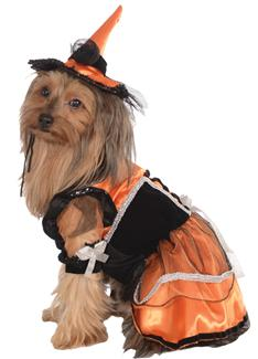 PET COSTUME ORANGE WITCH