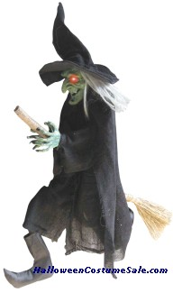 WITCH HANGING ON A BROOM PROP