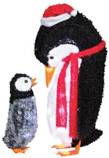 FUZZY PLUSH-MOMMY AND BABY PENGUIN