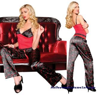 SATIN PANTS AND MESH CAMISOLE