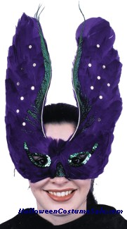 MASK, FEATHER PURPLE W/SEQUIN