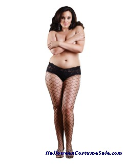 FENCE NET PANTYHOUSE WITH TOP PLUS SIZE
